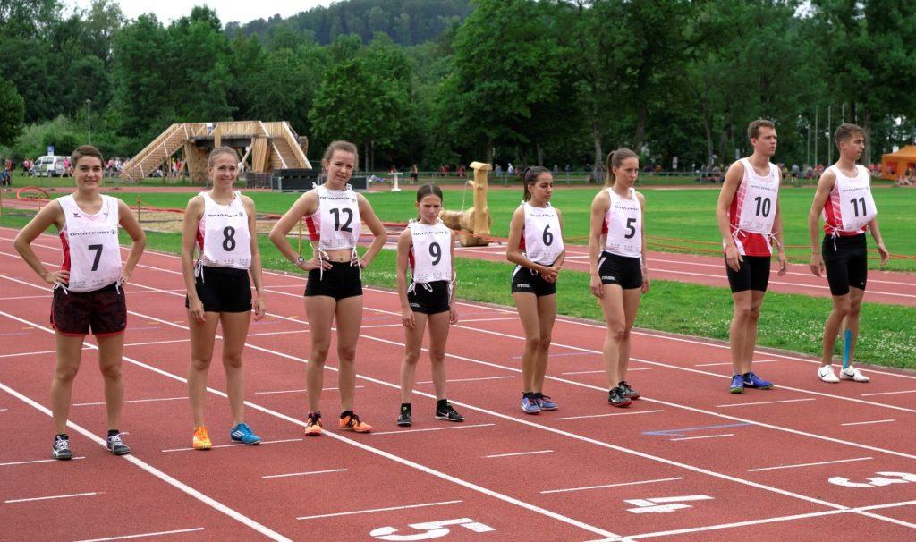 Aufstellung für den 800 m Lauf