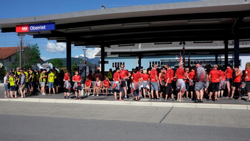 Empfang auf dem Bahnhof Oberriet